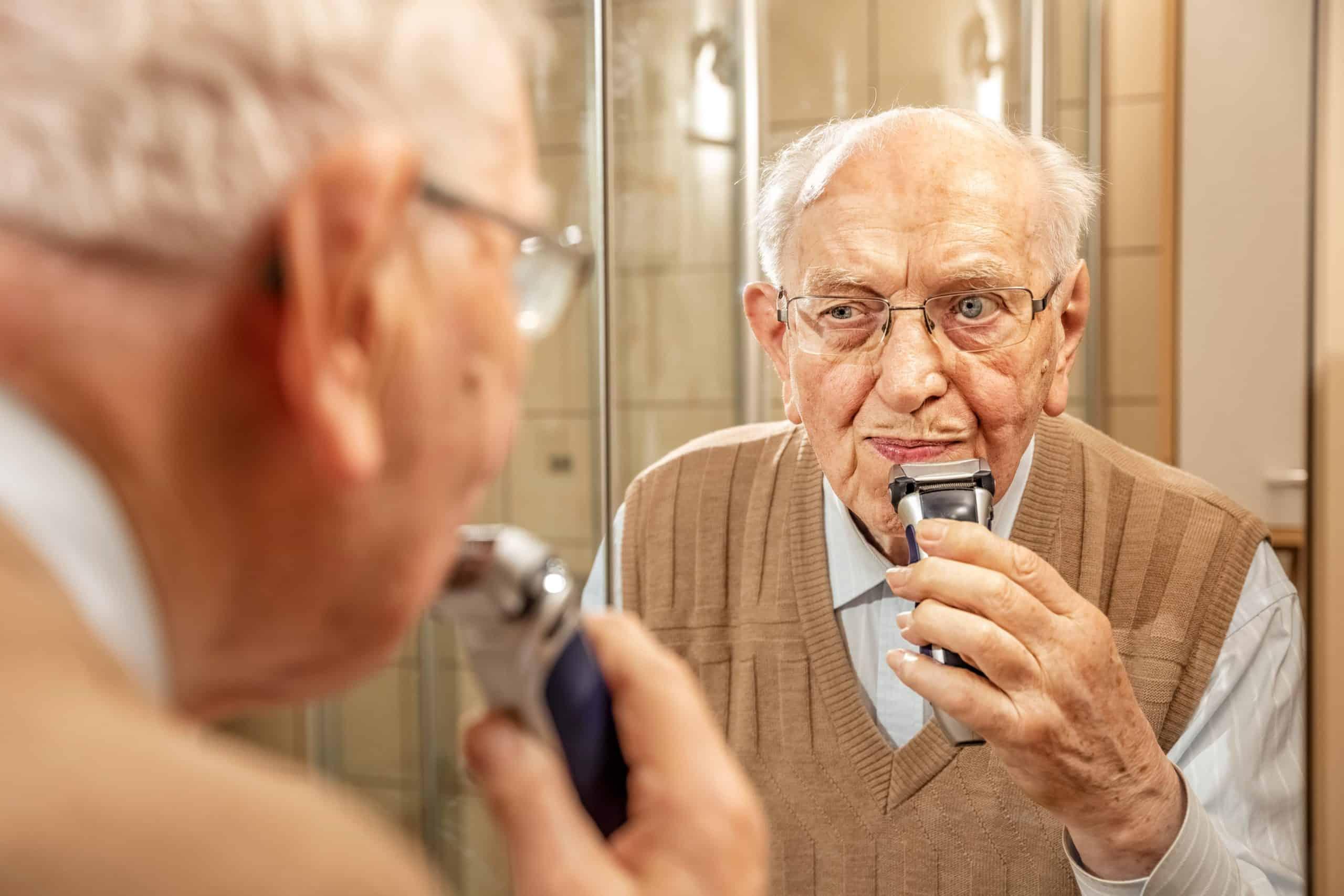 Elderly Person in the Bathroom, Shaving