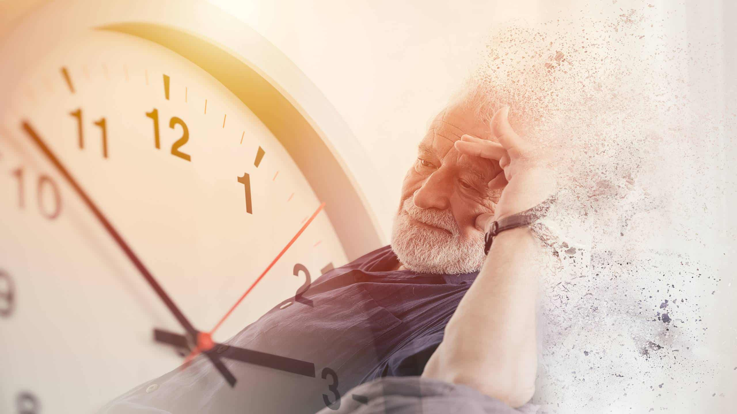 Elder time countdown to Alzheimer and Dementia disease loss their mild memory and family life concept.